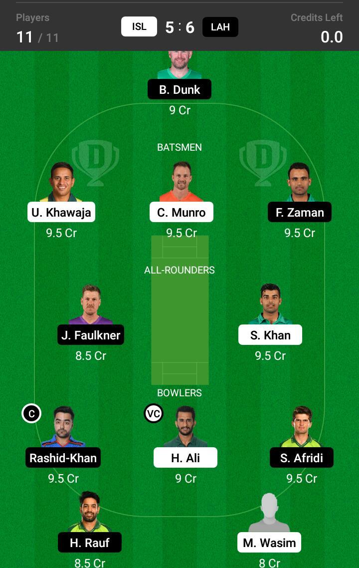 ISL vs LAH 21st Match Dream11 Team fantasy Prediction Super League T20