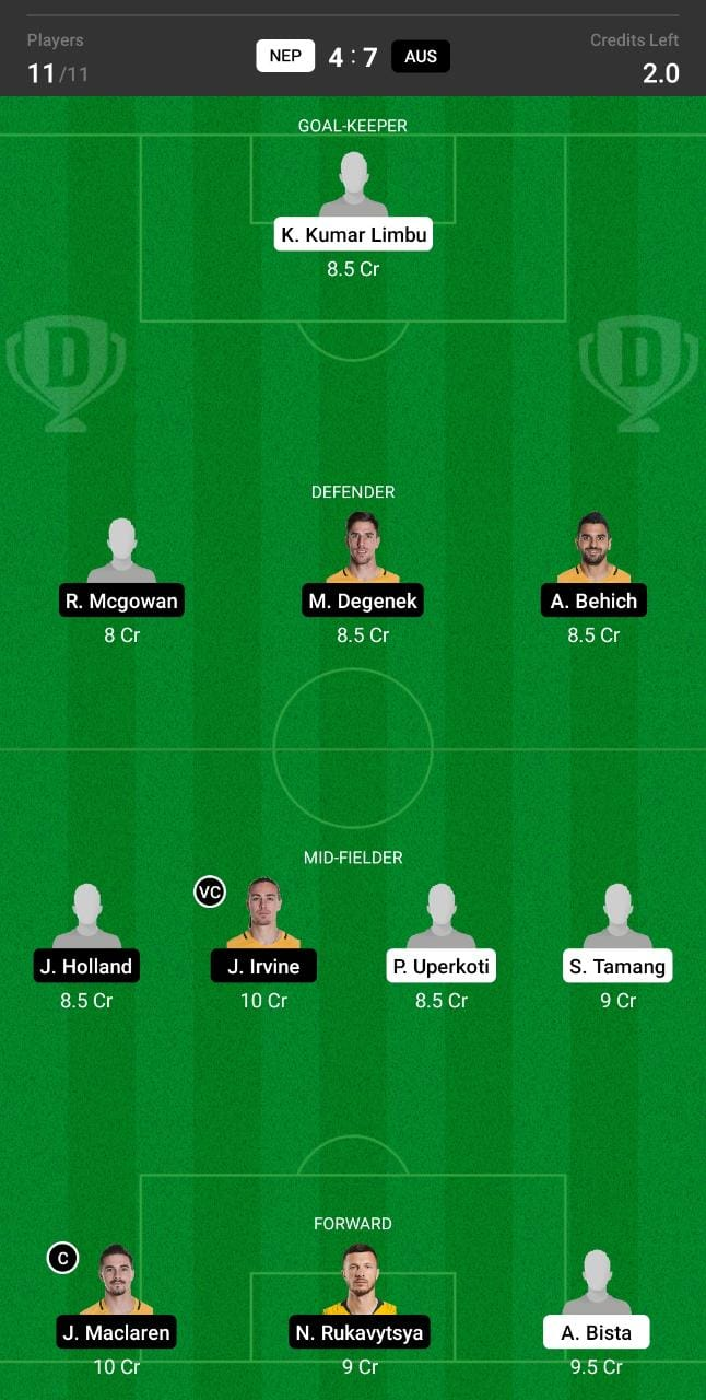NEP vs AUS Dream11 Team fantasy Prediction World Cup Qualifiers