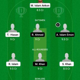 SCC vs DOHS 28th Match Dream11 Team fantasy Prediction Dhaka T20