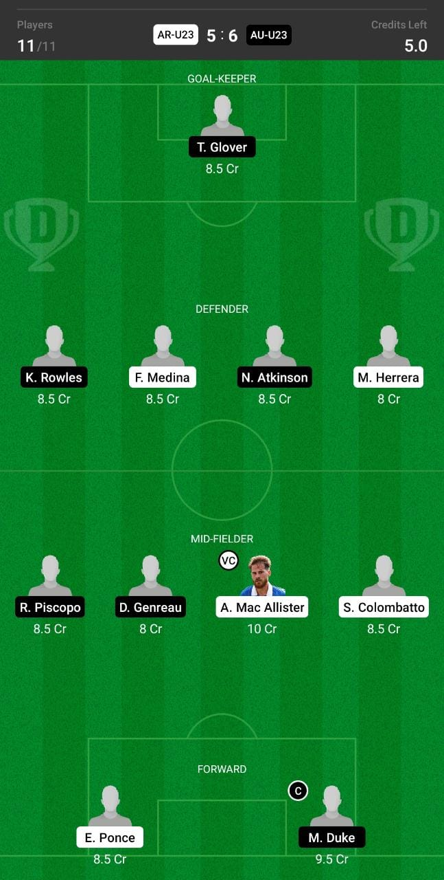 AR-U23 vs AU-U23 Dream11 Team fantasy Prediction Olympics Men