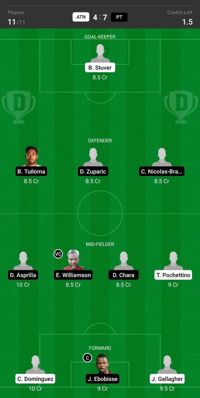 ATN vs PT Dream11 Team fantasy Prediction Major League Soccer