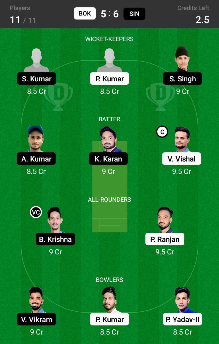 BOK vs SIN 22nd Match Dream11 Team fantasy Prediction BYJU's Jharkhand T20