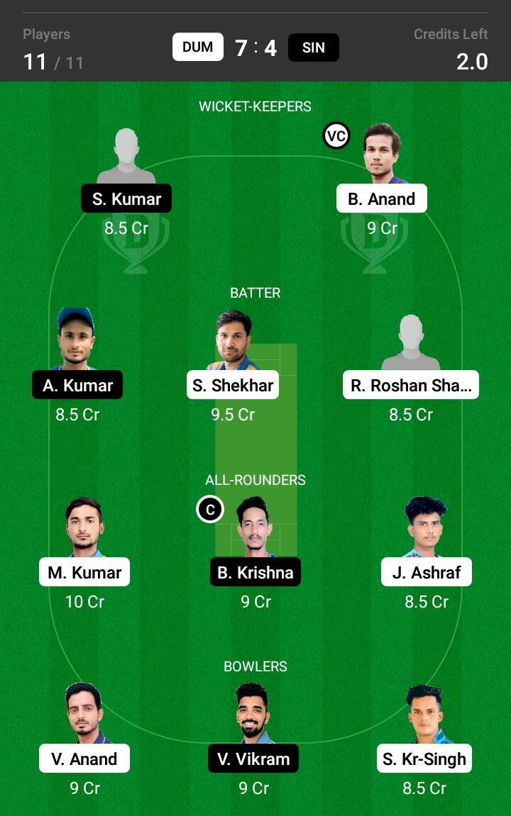 DUM vs SIN 26th Match Dream11 Team fantasy Prediction BYJU's Jharkhand T20