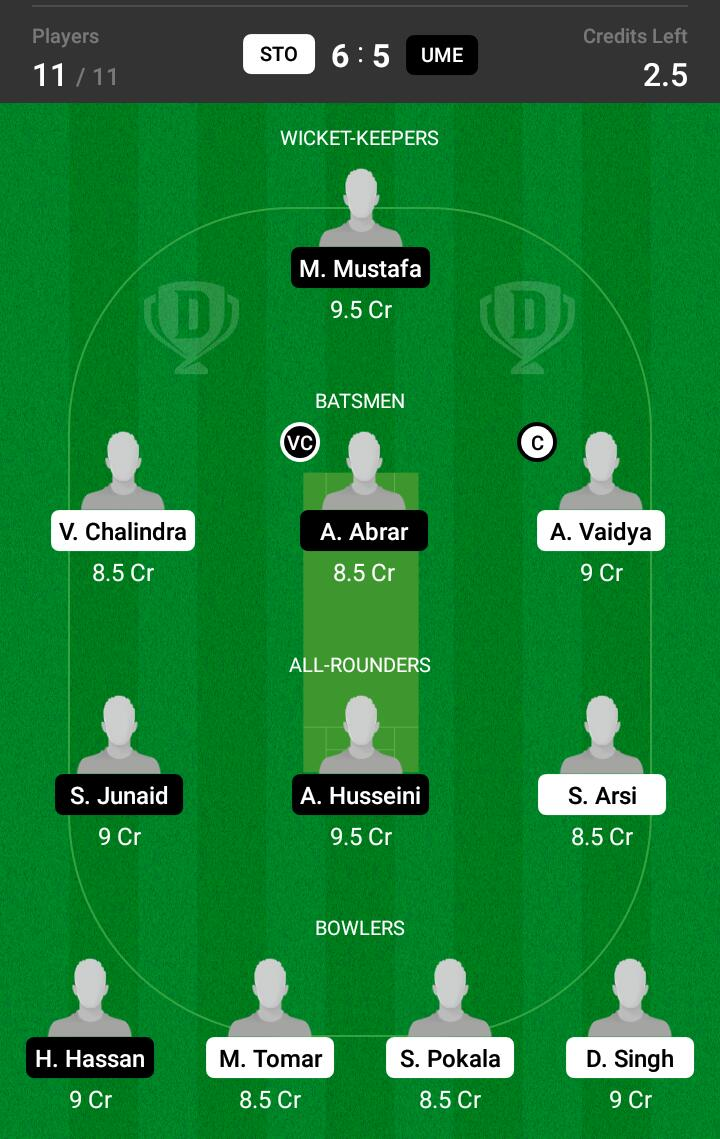 STO vs UME 13th Match Dream11 Team fantasy Prediction FanCode ECS T10-Sweden