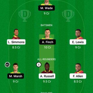 WI vs AUS 2nd T20 Match Dream11 Team fantasy Prediction Australia Tour of West Indies