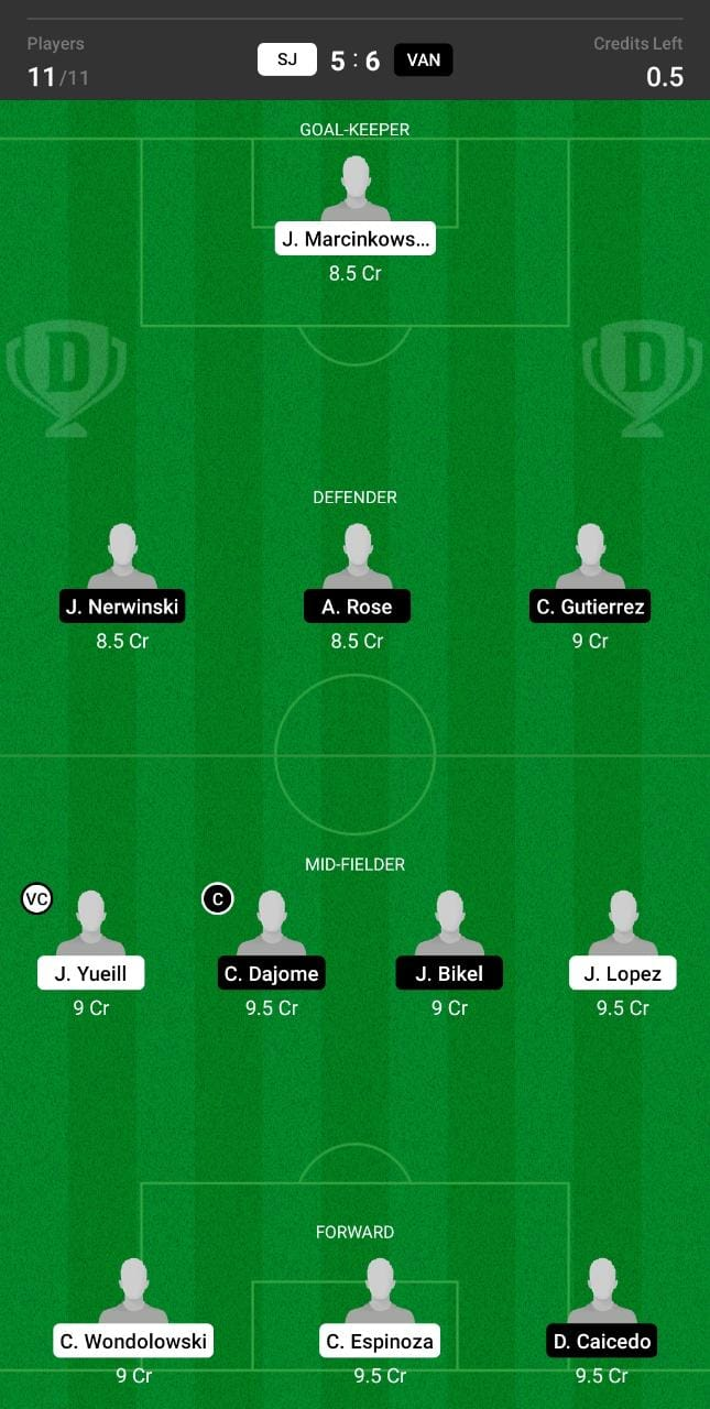 SJ vs VAN Dream11 Team fantasy Prediction Major League Soccer