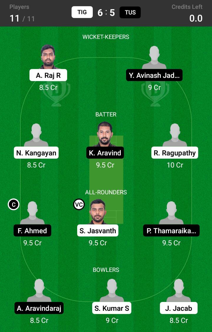 TIG vs TUS 8th Match Dream11 Team fantasy Prediction BYJU's Pondicherry T20