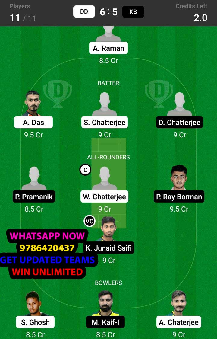 DD vs KB 27th Match Dream11 Team fantasy Prediction BYJU'S Bengal T20 Challenge