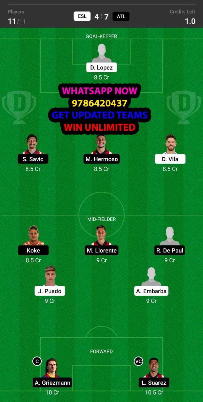 ESL vs ATL Dream11 Team fantasy Prediction LaLiga Santander