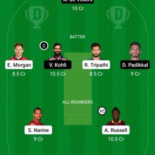 KOL vs BLR 31st Match Dream11 Team fantasy Prediction IPL 2021