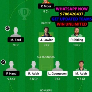 NK vs MUR 17th Match Dream11 Team fantasy Prediction Ireland Inter-Provincial T20