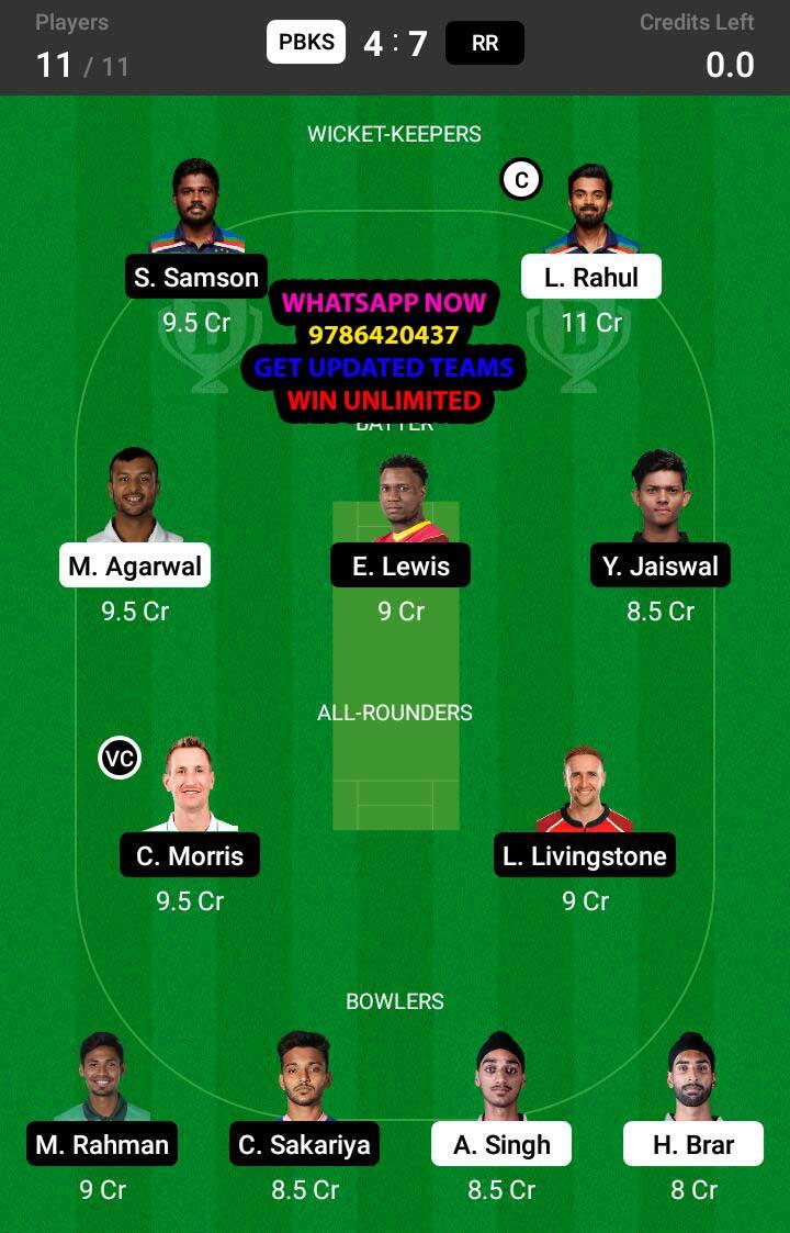 PBKS vs RR 32nd Match Dream11 Team fantasy Prediction IPL 2021