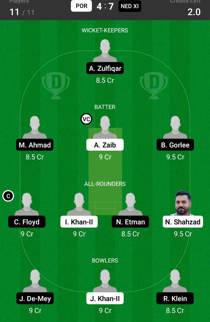 POR vs NED XI 16th Match Dream11 Team fantasy Prediction Dream11 ECC T10