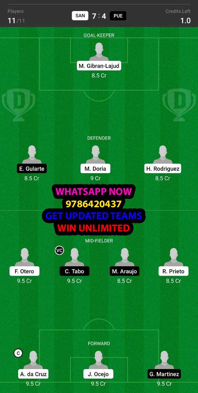 SAN vs PUE Dream11 Team fantasy Prediction Mexican League