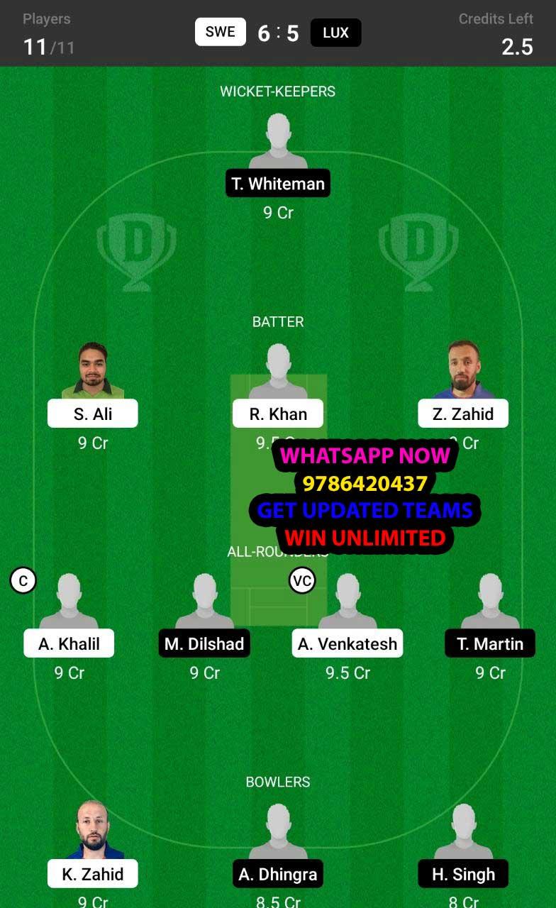 SWE vs LUX 16th Match Dream11 Team fantasy Prediction Dream11 ECC T10