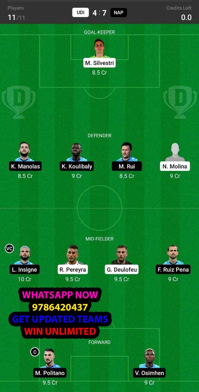 UDI vs NAP Dream11 Team fantasy Prediction Russian Premier League