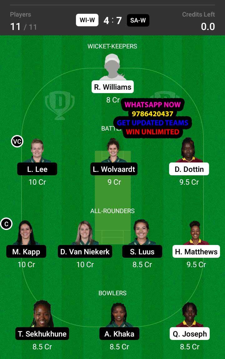 WI-W vs SA-W 4th ODI Match Dream11 Team fantasy Prediction South Africa Women tour of West Indies