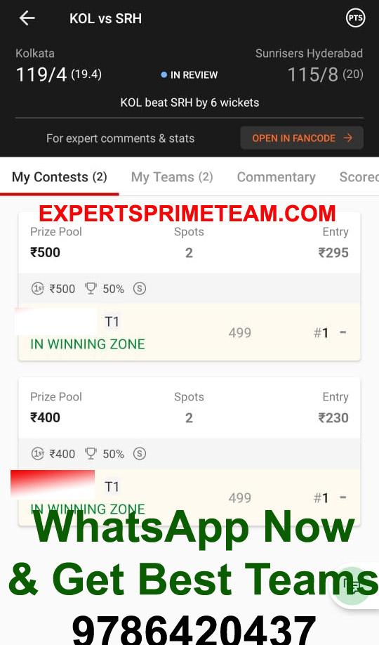 KOL-VS-SRH-Dream11-Results-