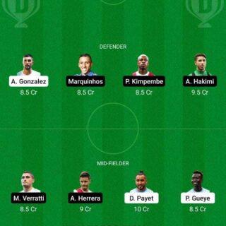 MAR vs PSG Dream11 Team fantasy Prediction Ligue 1