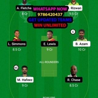 PAK vs WI 9th Match Dream11 Team fantasy Prediction World Cup T20 Warm up (2)